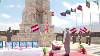 PM Shri Narendra Modi pays tribute to soldiers at hall of fame in Leh.