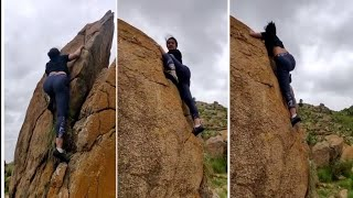 Wow Aindrita ray without rope rock climbing | Aindrita Ray | Diganth