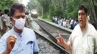 Massive protest against railway track doubling. Reginaldo, Elvis Gomes join protest.