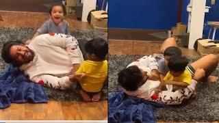 Prajwal Devaraj Cute Moments with Kids | Prajwal Devaraj Playing with Baby's