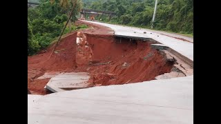 #SubStandardWork | First rain and newly built highway at Pernem washed away! WATCH HOW