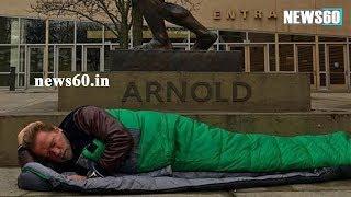 Arnold Schwarzenegger sleeps under his famous bronze statue