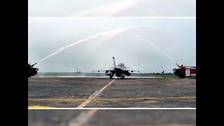Watch: Ceremonial water cannon salute given to 5 Rafale fighter jets at Ambala airbase