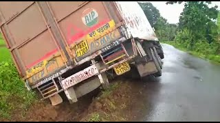 Truck falls on its side at Karmal ghat due to narrow road, Is govt responsible for this?