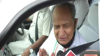 Rajasthan Chief Minister Ashok Gehlot addresses media in Jaisalmer