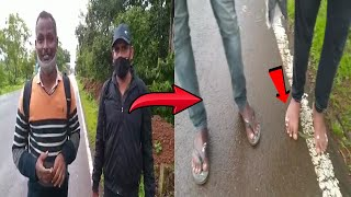 These two men walking to their home town bare feet, their feet swollen, haven't eaten in days!