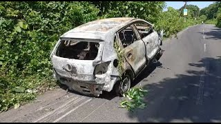 #Fire | Miraculous escape for cop as moving car catches fire