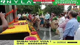 Minister for Forests A. Inder Karan Reddy pays homage to the martyrs while attending