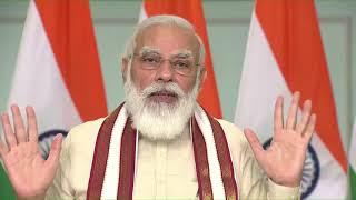 PM Modi addresses the 'Grih Pravesham' function of beneficiaries under PMAY-G in Madhya Pradesh