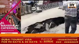 A part of the road caved in the west zone of #Hyderabad. Civic authorities have been roped in