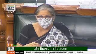 Smt. Nirmala Sitharaman's reply on the Companies (Amendment) Bill. 2020