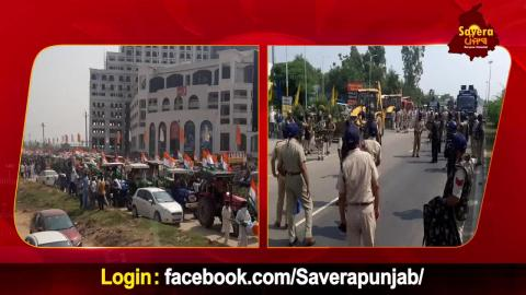 Farmers ਦੀ Tractor Rally ਨੂੰ ਰੋਕਣ ਲਈ Haryana Border 'ਤੇ Police force ਤੈਨਾਤ