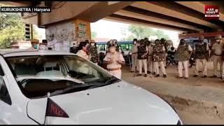कुरुक्षेत्र के पीपली में किसानों को लेकर फिर से भारी पुलिस की टुकड़ियां तैनात