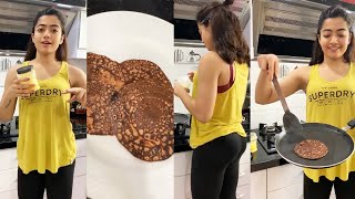 Rashmika Mandanna makes Yummy chocolate - protein oat pancakes