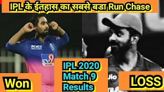 IPL2020 Match 9 Results, Kings Xl Punjab Lost,Rajasthan Royals Won,IPL के ईतहास का सबसे बडा RunChase