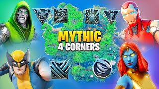 Fortnite 4 Corner Boss Mythic Challenge! Doctor Doom, Wolverine, Iron Man, Mystique Vault & KeyCard