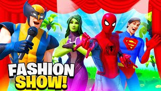 Fortnite Boss Fashion Show (Spiderman, Superman, Iron Man, Wolverine, Mystique) Superhero & Bosses