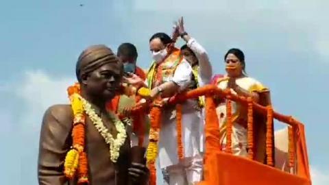 भारतीय जनता पार्टी के राष्ट्रीय अध्यक्ष जेपी नड्डा पहुंचे सिलीगुड़ी नौकाघाट
