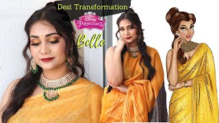 Disney Princess Belle Indian Transformation Haldi/Sangeet Makeup & Hair Step By Step | Nidhi Katiyar