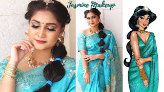 Princess Jasmine Makeup & Hair Indian Transformation using affordable makeup | Nidhi Katiyar