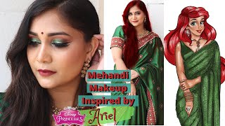 Mehandi/Sangeet Makeup Look | Princess Ariel Indian Transformation | Indian Makeup | Nidhi Katiyar
