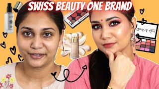 Swiss Beauty One Brand Makeup Look / Festive Pink Glitter Glowy Makeup for Beginners