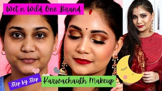 Wet n Wild One Brand + Mini Review / Step by Step Karwachauth Makeup / Classic Gold Eyes & Red Lips