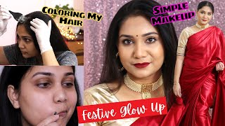 How I Cover my Grey Hair at Home & Get ready for Festivals / Nidhi Katiyar