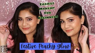 Easy & Glowing Day Time Festive Makeup Look For Beginners Using Drugstore Makeup | Nidhi Katiyar