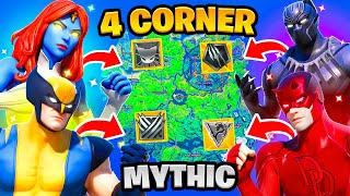 Fortnite 4 Corner Boss Mythic Challenge! DareDevil, Black Panther, Mystique, Wolverine Vault KeyCard