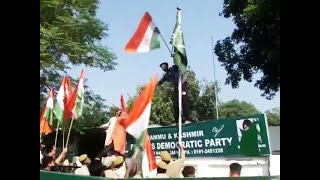 Watch: BJP workers hoist national flag at PDP office in Jammu