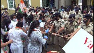 Mahila congress take morcha on police headquarter; Demand to know where Babu was that night