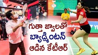 Telangana Minister KTR Playing Badminton with Jwala Gutta || Jwala Gutta Badminton Academy