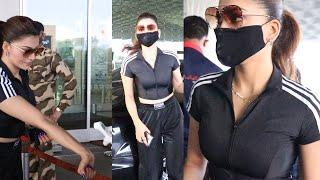 Gorgeous Urvashi Rautela looks stunning in Black Dress At Mumbai Airport