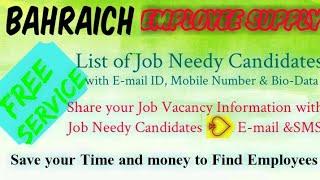 BAHRAICH     EMPLOYEE SUPPLY   ! Post your Job Vacancy ! Recruitment Advertisement ! Job Information