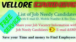 VELLORE      EMPLOYEE SUPPLY   ! Post your Job Vacancy ! Recruitment Advertisement ! Job Information