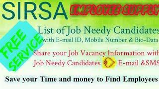 SIRSA     EMPLOYEE SUPPLY   ! Post your Job Vacancy ! Recruitment Advertisement ! Job Information !