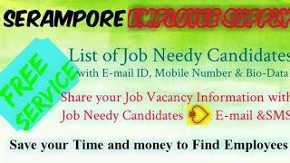 SERAMPORE       EMPLOYEE SUPPLY   ! Post your Job Vacancy ! Recruitment Advertisement ! Job Informat