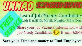 UNNAO       EMPLOYEE SUPPLY   ! Post your Job Vacancy ! Recruitment Advertisement ! Job Information