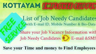 KOTTAYAM    EMPLOYEE SUPPLY   ! Post your Job Vacancy ! Recruitment Advertisement ! Job Information