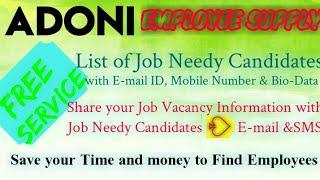 ADONI     EMPLOYEE SUPPLY   ! Post your Job Vacancy ! Recruitment Advertisement ! Job Information !