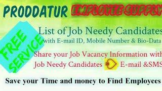 PRODDATUR     EMPLOYEE SUPPLY   ! Post your Job Vacancy ! Recruitment Advertisement ! Job Informatio