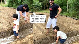 Taimur and Saif Ali Khan Turned Farmer during Pataudi Visit  Watch this cute video
