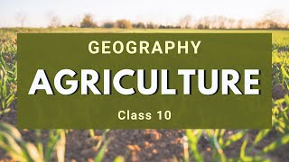 Agriculture | Class 10 Geography