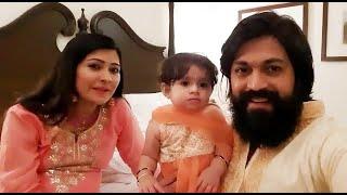 KGF star Rocky Bhai Celebrates Diwali With Wife Radhika And Daughter Ayra Yash | Very Cute video