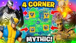 Fortnite 4 Corner Boss Mythic Challenge! Venom, Groot, Wolverine, Ghost Rider Vault KeyCard