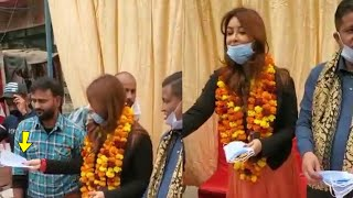 Payal Ghosh Helps People By Distributing Masks at Sultan Puri in New Delhi