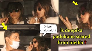 Deepika Padukone Didn't Step Out Of The Car After Seeing Media Looks Very Scared And Tensed