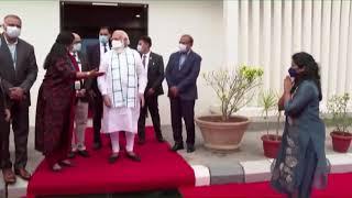 PM Modi visits Bharat Biotech facility to review COVID-19 vaccine development in Hyderabad | PMO