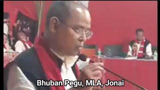 Bhuban Pegu's speech at Adi Mising Bane Kebang, Somkong, Jonai.